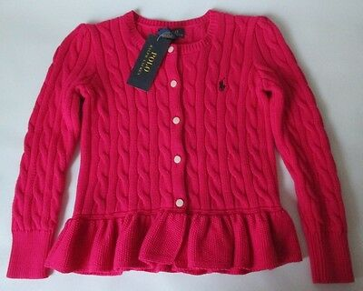NWT size 5 POLO RALPH LAUREN pink pony cable knit cotton cardigan sweater