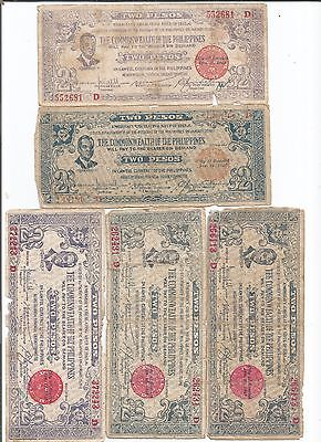 Philippines Wwii Emergency Currency - Lot Of 5 Negros Occ. $2 Notes(Phil-120)