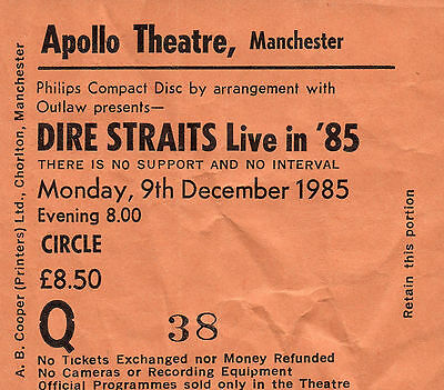 Dire Straits used live concert ticket Manchester Apollo Theatre 9 December 1985