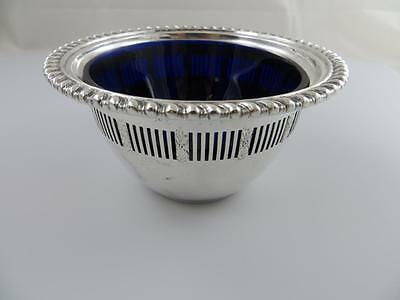 Condiment, Sauce Bowl with Cobalt Liner Birks Sterling Silver 38153