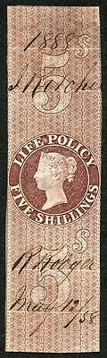 5/- Life Policy Stamp printed by Perkins Bacon wmk Anchor