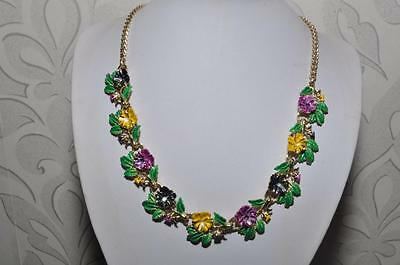 Beautiful Vintage Enamel Signed Exquisite Pansy Birthday Series Necklace