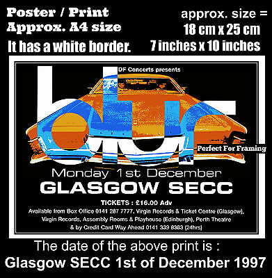 Blur live concert at Glasgow SECC 1st of December 1997 A4 size poster print
