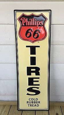 Phillips 66~Tires~Cold Rubber Tread~EMBOSSED~METAL SIGN~Advertising