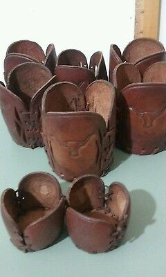 Tooled Leather Vintage Cup Holders embossed Longhorn Steer Western Motif