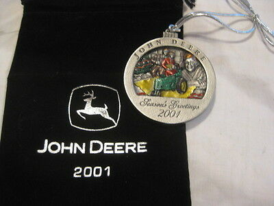 """JOHN DEERE """"A"""" 2001 Painted Pewter Christmas Ornament #6 IN SERIES"""