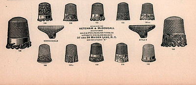 1902 A Ad   Ketcham Mcdougall Thimbles Gold Sterling 13 Styles