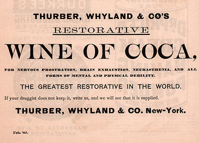 1888 Ad Lot 2 Wine Of Coca Ads Thurber Whyland Co Cocaine Hammond