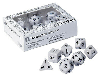 ULTRA PRO GAMING Roleplaying Dice Set White D4 D6 D8 D10 D12 D20 Percentile