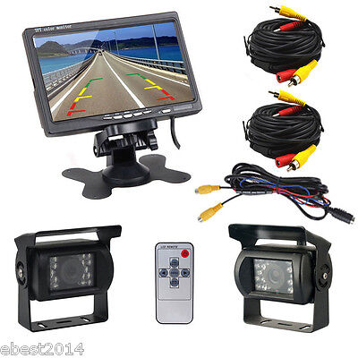 "7"" Car Rear View Monitor+2 Wired Rearview Backup Camera for Truck Bus Trailer RV"