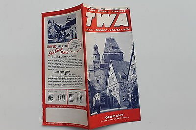 20940 TWA Trans world Airlines Time Table USA Europe Afrika Fevier 1952 Flugplan