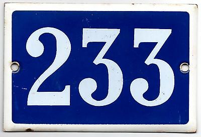 Old blue French house number 233 door gate plate plaque enamel metal sign steel