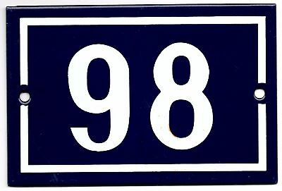 Old blue French house number 98 door gate plate plaque enamel metal sign steel