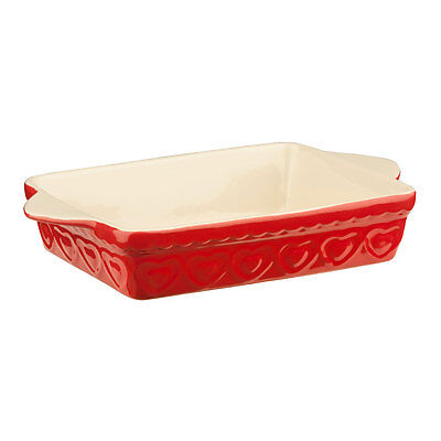 2 Litre Red Sweet Heart Baking Dish Rectangular Lasagne Casserole Pie Oven Tray