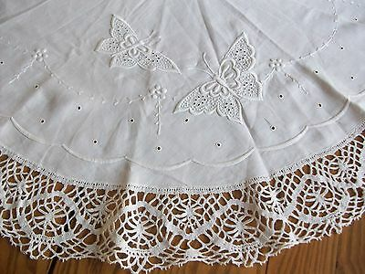 "Lovely Vintage 44"" Linen Tablecloth ~ White-On-White Embroidery ~ 4"" Bobbin Lace"