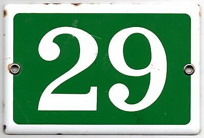 Old green French house number 29 door gate plate plaque enamel metal sign steel