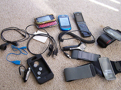 BULK LOT Of Cell Phones And Accessories Cords, Holders, Chargers, Cases IPhone 4