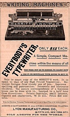 Ad Lot Of 6 Early Merrit Typewriter Ads Lyons Mfg Co