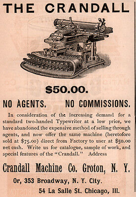 Ad Lot Of 5 1890-97 Ads Crandall Machine Co Groton Typewriter