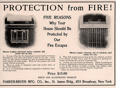 Early Ad Parker Bruen Mfg Co Fire Escapes