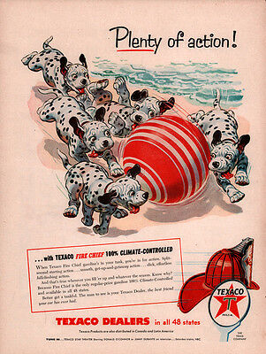 Ad Lot Of 3  Vintage Ads Dalmation Puppies Texaco Mobilgas