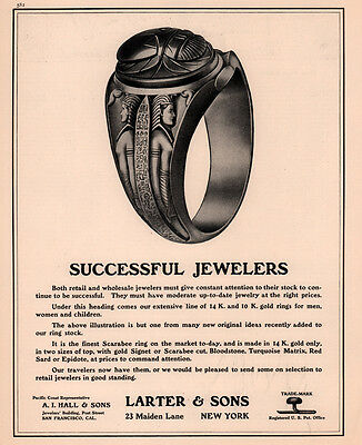 Early 1900  Ad   Larter Sons Jewelers Ring Egyptian Scarabee Red Sard
