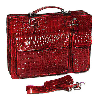 Real patent leather Made in Italy croc huge Briefcase Laptop  case bag  red