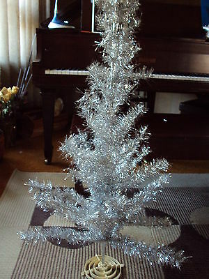 Vintage Modern Silver Christmas Tree 4 ft No Assembly Required Tinsel
