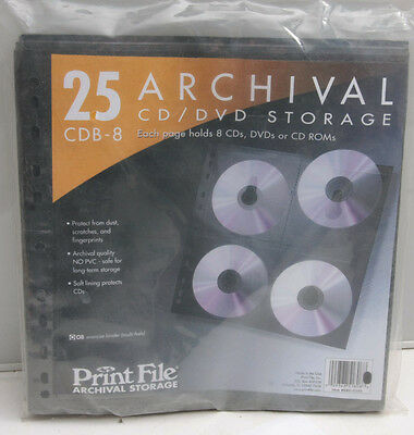 CDB-8 (25) PrintFile Archival CD/DVD Pages - Black 080-0340 - NEW S10