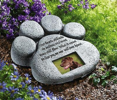 Inscribed Paw Print Pet Dog Cat Memorial Stone Garden Grave Marker Headstone