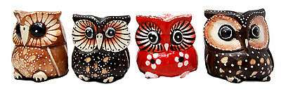 Balinese Wood Handicrafts Colorful Tropical Forest Owl Family Set of 4 Figurines