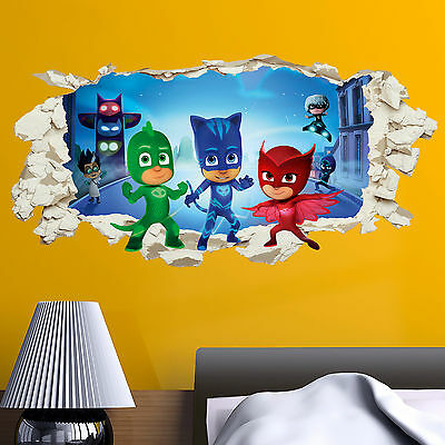 PJ Masks in wall Crack Kids Boy Girls Bedroom Vinyl Decal Sticker Gift New