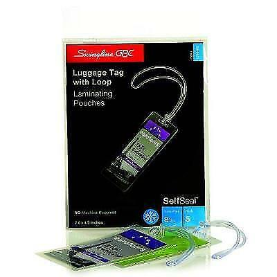 GBC SelfSeal Self Adhesive Laminating Pouches, Luggage Tag Size with Loops, New