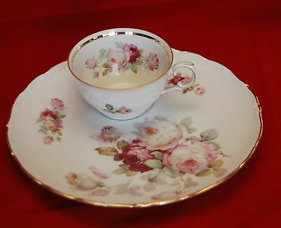 """ANTIQUE ROSE by Schumann_9 1/2"""" Snack Plate_Cup Set _Pink_Yellow Roses_Scalloped"""