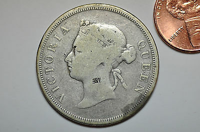 mw8362 Straits Settlements; Silver 50 Cents 1887 chopmarked  KM#13