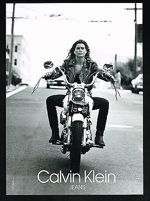 1991 Calvin Klein Jeans Carre Otis Photo Harley Motorcycle Print Ad