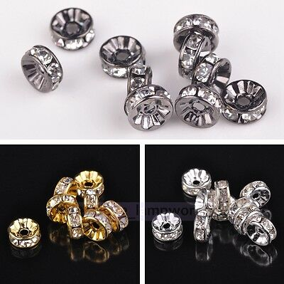 Wholesale Lot 20/50pcs 8mm Rondelle Crystal Rhinestones Loose Spacer Metal Beads