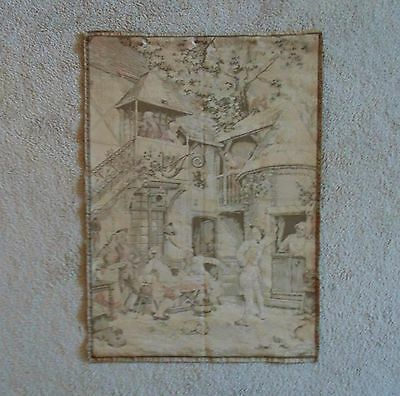 Early 20c French Tapestry Vintage Wall Hanging