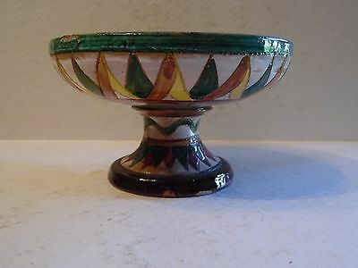 Vintage Small Pedestal Italy Pottery Bowl Hand Painted