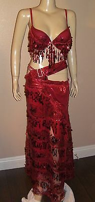 Professional Egyptian Red Design Mesh Lace Sequins & Beads Belly Dance Costume