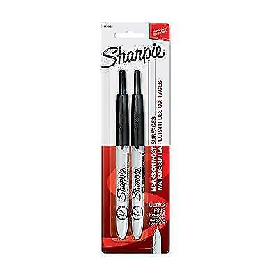 Sharpie Retractable Permanent Markers, Ultra Fine Point, Black, 2 Count New