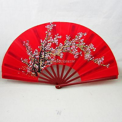 Red Chinese Kung Fu Tai Chi Martial Arts Flower Plastic Hand Fan