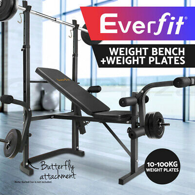 Everfit Multi-Station Weight Bench 10-100KG Plates Press Fitness Weights Gym