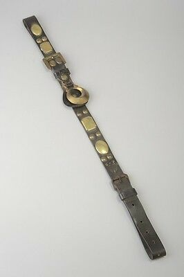 C19th  Heavy Horse Leather Harness Strap with Horse Brasses. VDH