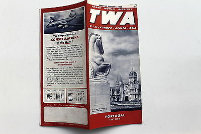 20939 TWA Trans world Airlines Time Table USA Europe Afrika August 1952 Flugplan
