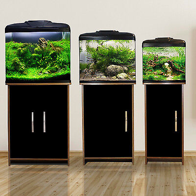 Aqua One AquaVue Nano Small Aquarium Fish Tank Tropical - Walnut / Gloss Black