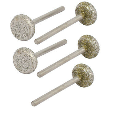 "3mm 1/8"" Shank 14mm Dia Round Pan Diamond Head Grinding Mounted Point Bit 5pcs"