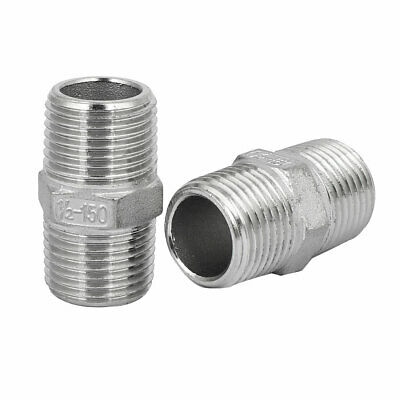 DN15 1/2BSP Male Thread 304 Stainless Steel Hex Nipple Tube Pipe Fittings 2pcs
