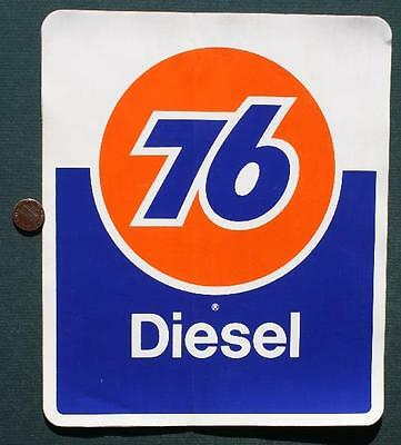 1970s Era Union 76 Gas & Motor Oil Company Diesel Fuel BIG pump sticker-VINTAGE!