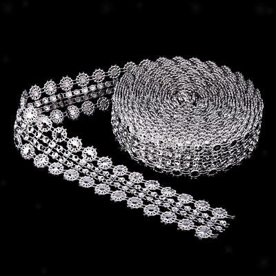 5 Yards Crystal Flower Rhinestone Chain Ribbon Trim Sewing Applique Silver